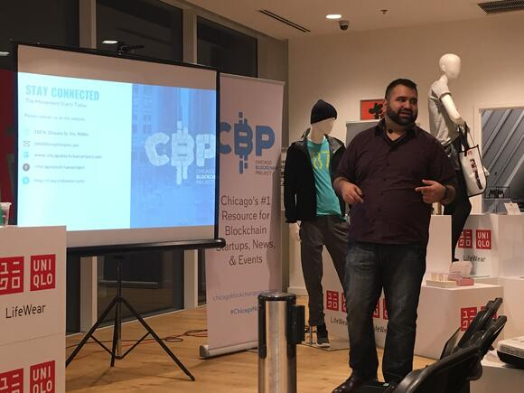 Joe Hernandez presenting at UNIQLO about blockchain