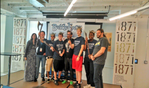 Team DWAI Stands with the BattleHack judges to receive their first place prize